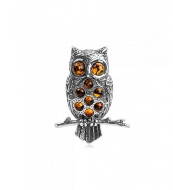 Honey Amber Sterling Silver Owl