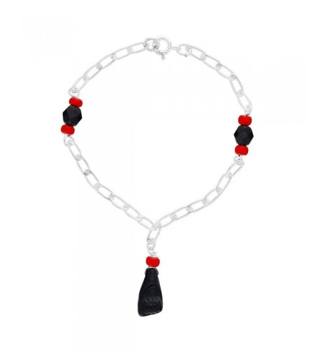 Silver Protection Simulated Azabache Bracelet