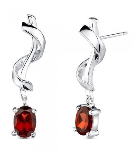 Garnet Earrings Sterling Silver Design