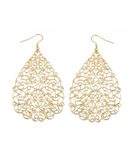 Lux Accessories Goldtone Filigree Teardrop