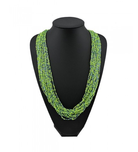 Multiple Handmade Statement Necklace NK 10235 greenery