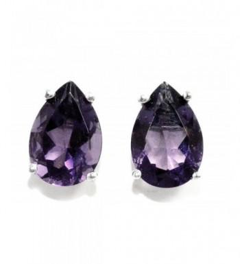 Created Alexandrite Earrings Sterling Rhodium