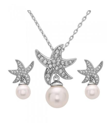 Wedding Starfish Zirconia Simulated Necklace