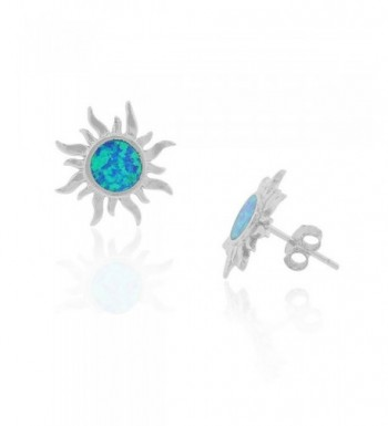 Sterling Silver Simulated Blue Earrings