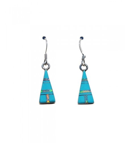 Handcrafted Silver Stabilized Turquoise Earrings