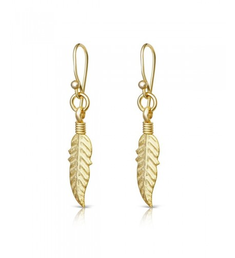 Yellow Plated Sterling Feather Earrings