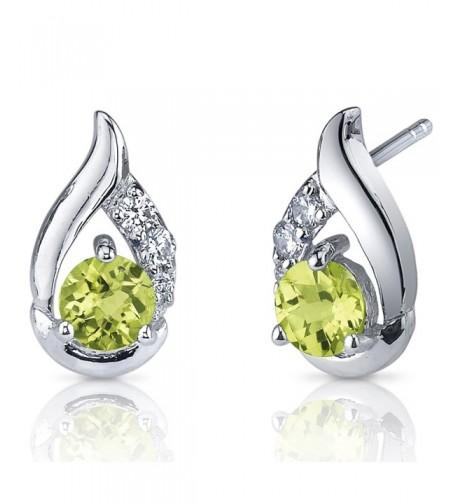 Peridot Earrings Sterling Silver Rhodium
