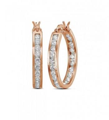 Flashed Cubic Zirconia Channel Set Earrings