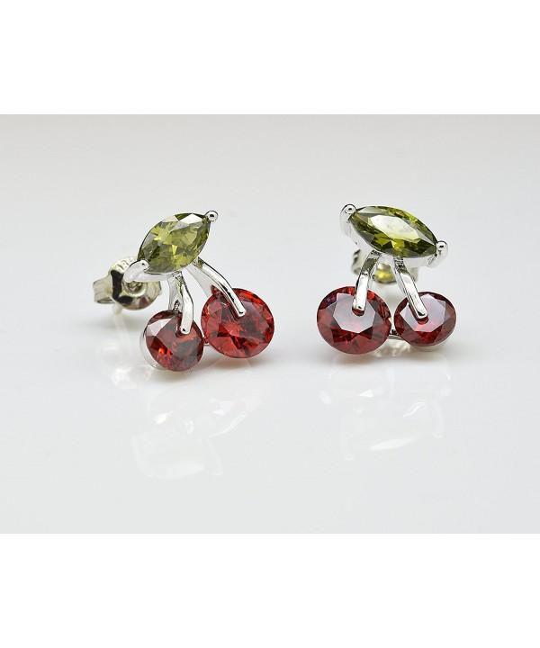 Cherry Earrings Zirconia Austrian Crystals