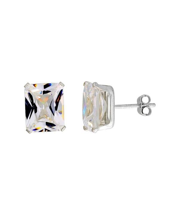 Sterling Silver Zirconia Emerald Earrings