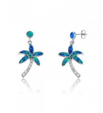 Sterling Silver Created Blue Earrings