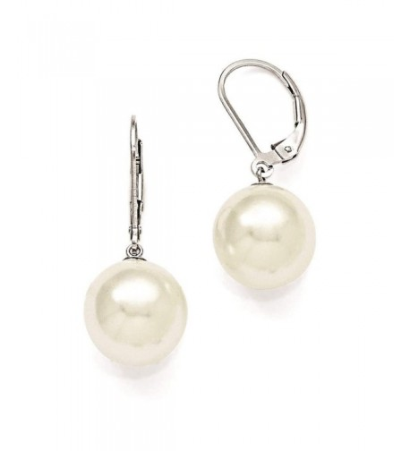 Sterling Simulated pearl Leverback Earrings Majestik