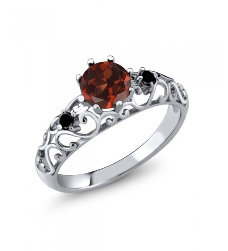 Sterling Silver Genuine Garnet Diamond