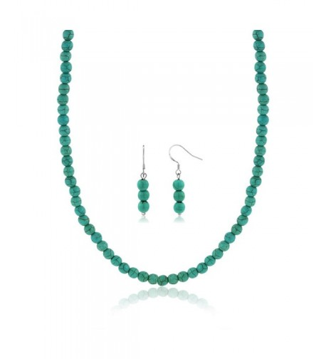 Simulated Turquoise Howlite Necklace Earrings