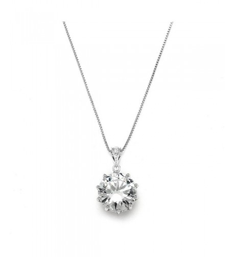 Mariell Dramatic Round Cut Solitaire Necklace