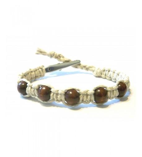 Brown Beaded Adjustable Alligator Bracelet