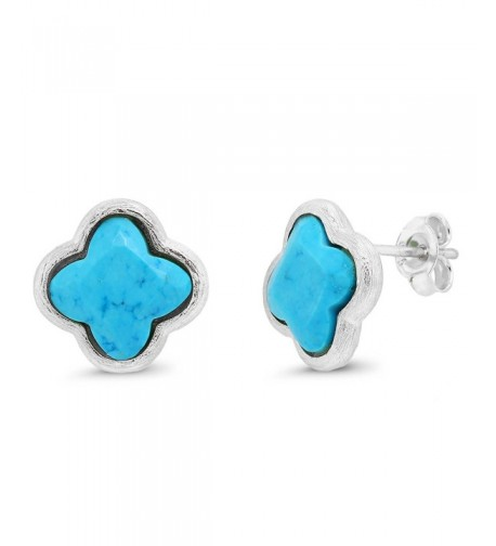Sterling Simulated Turquoise Diamond Earrings