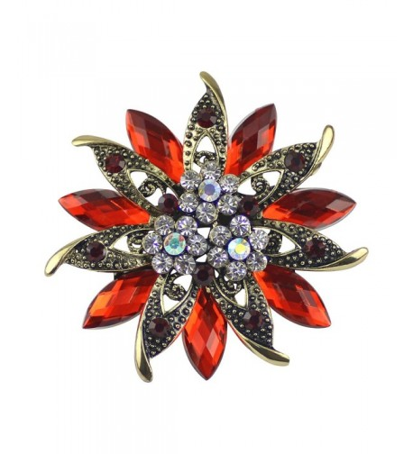 Ailer Vintage Brooches Bouquet Crystal Red