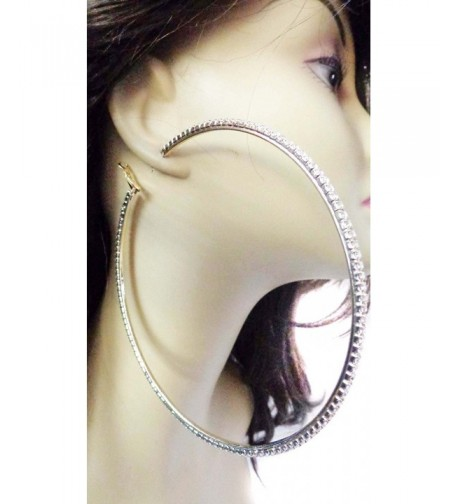 Large Inch Earrings Silver Rhinestone