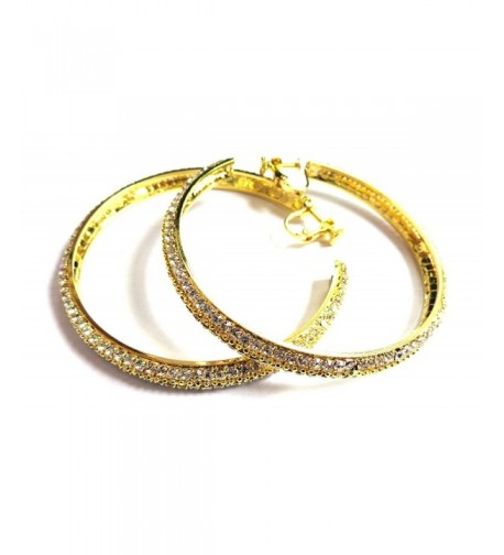 Clip Earrings Crystal Hoops Gold