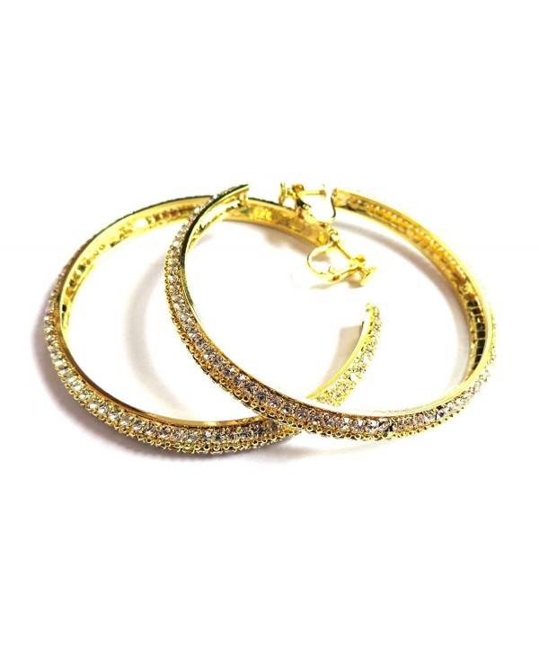 Clip Earrings Crystal Hoops Gold