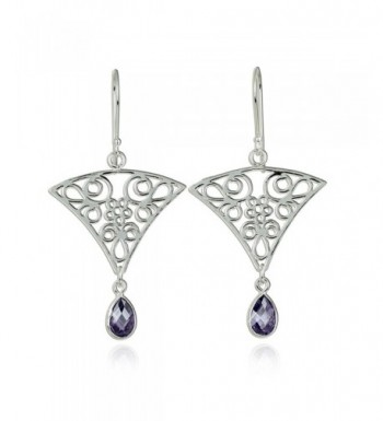 Triangular Earrings Intricate Teardrop Sterling