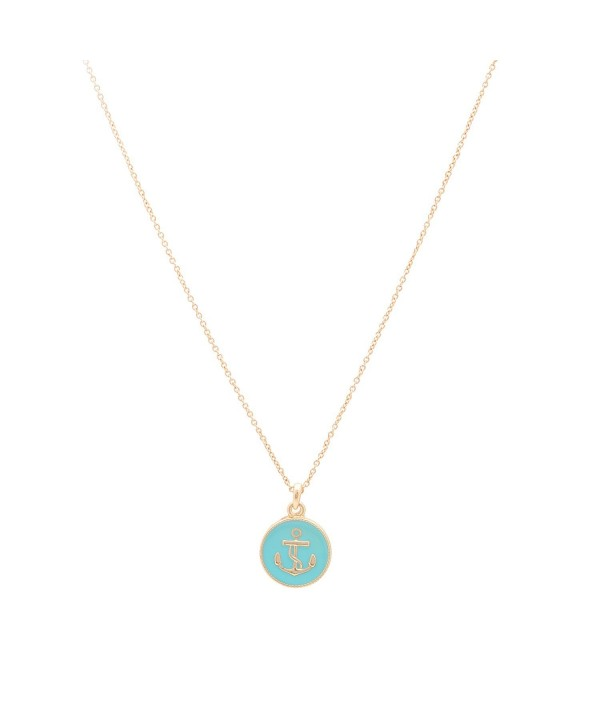 Plated Anchor Button Necklace Turquoise