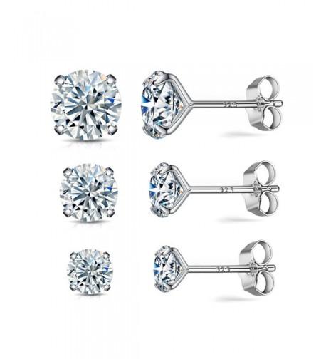 Sterling earrings simulated diamond hypoallergenic