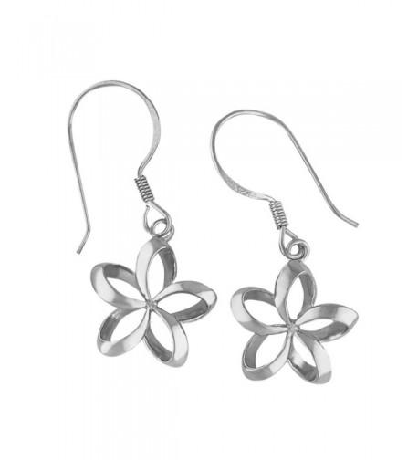 Sterling Silver Plumeria Dangle Earrings