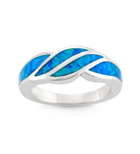 Sterling Silver Created Blue Designed