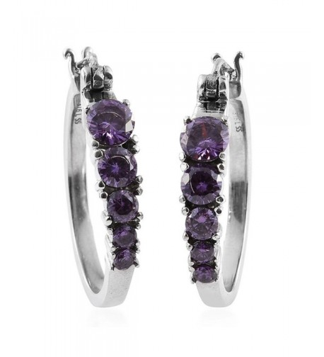 Purple Cubic Zirconia Stainless Earrings