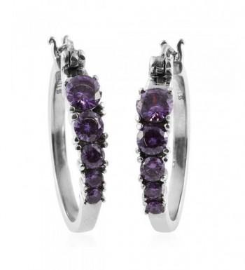 Purple Cubic Zirconia Stainless Earrings