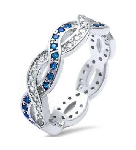 Sterling Simulated Sapphire Zirconia Infinity