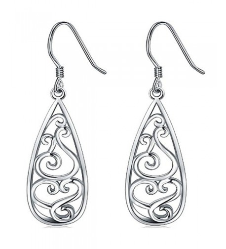 Sterling Silver Earrings Filigree Teardrop