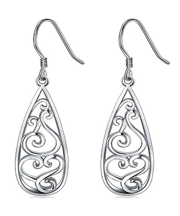 Sterling Silver Earrings Filigree Teardrop