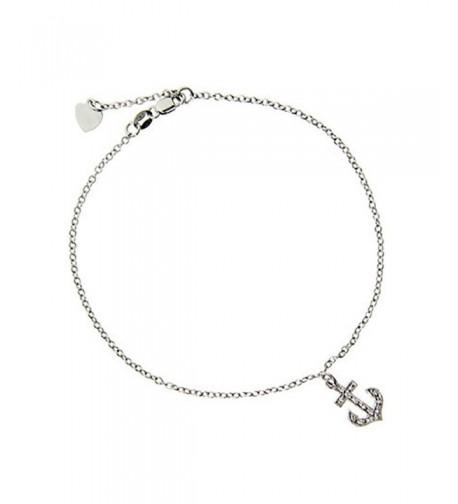 Sterling Silver Anchor Charm Bracelet