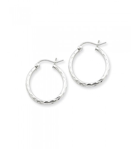 Diamond Polished Sterling Silver Hoops