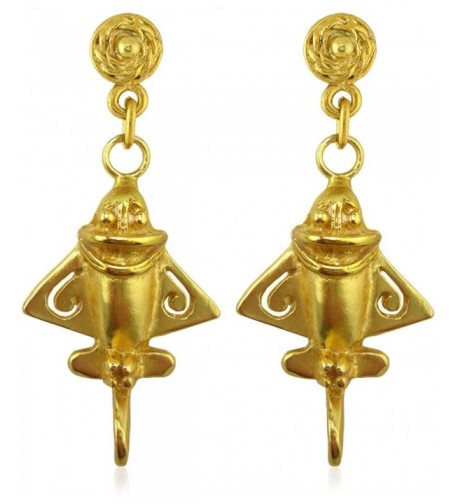 Pre Columbian Plated Ancient Aircraft Earrings