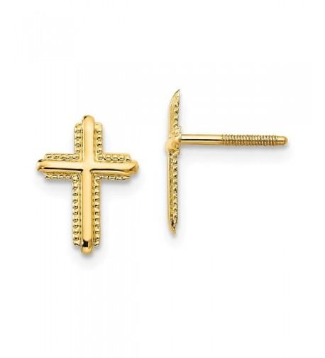 Yellow Polished Cross Screwback Earrings