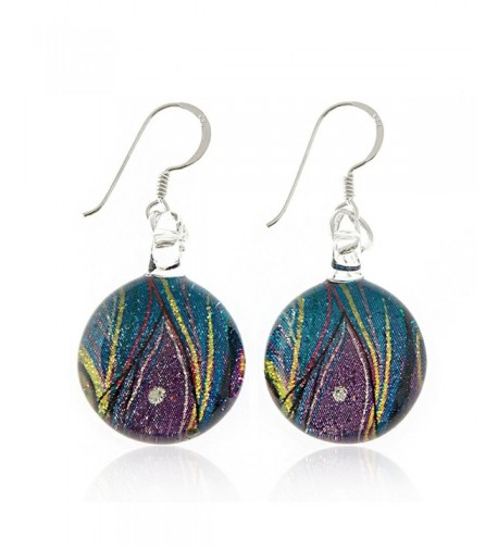 Sterling Painted Multi colored Peacock Earrings