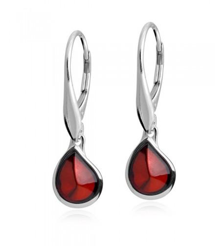 Cherry Sterling Teardrop Leverback Earrings