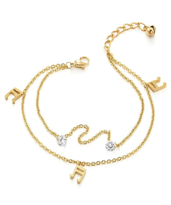 Two row Anklet Bracelet Dangling Zirconia