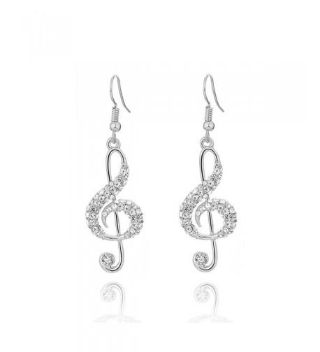 Earrings Stylish Musical Rhinestone Anti allergy