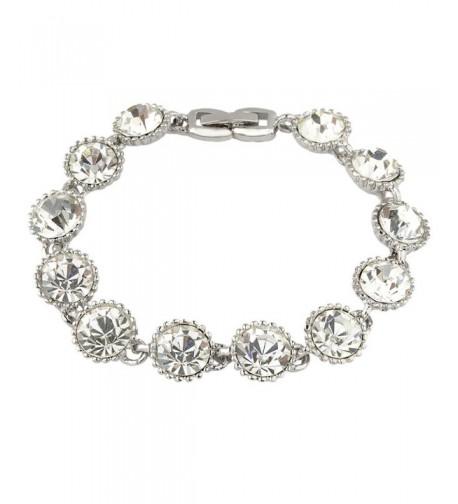EVER FAITH Silver Tone Crystal Bracelet