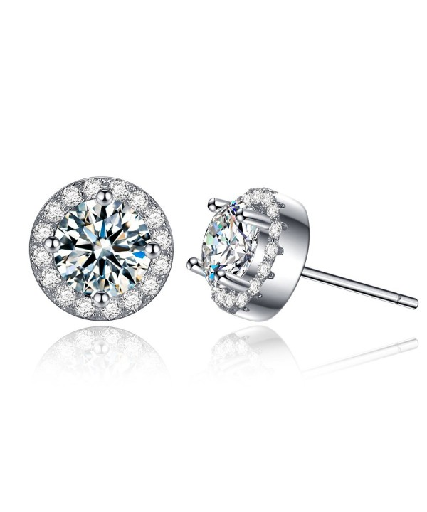 606cc1b28 ... Cubic Zirconia Stud Earrings White Gold Plated Sterling Silver Earrings  Gifts for Women Earrings CA182ZNA8GE. Solitaire Earrings Christmas  Anniversary ...