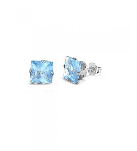 Simulated Aquamarine Zirconia Earrings Sterling