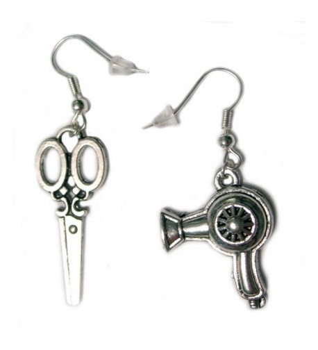 Scissors Dryer Silver Plated Earrings