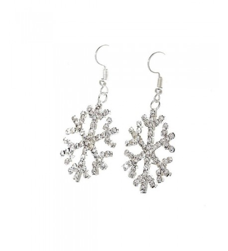 Gorgeous Silver Crystal Snowflake Earrings