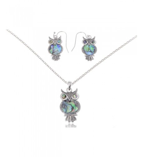 Alilang Silvery Abalone Necklace Earrings