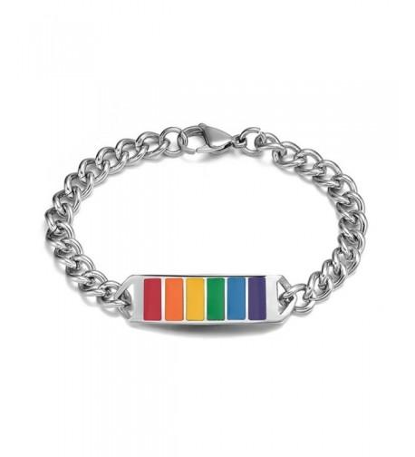 Stainless Gay Rainbow Wristband Bracelet